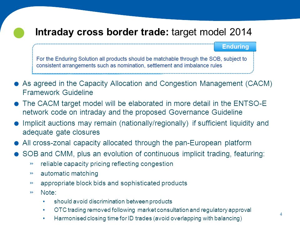 4 Intraday cross border trade: target model 2014.