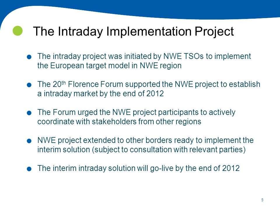 5 The Intraday Implementation Project.