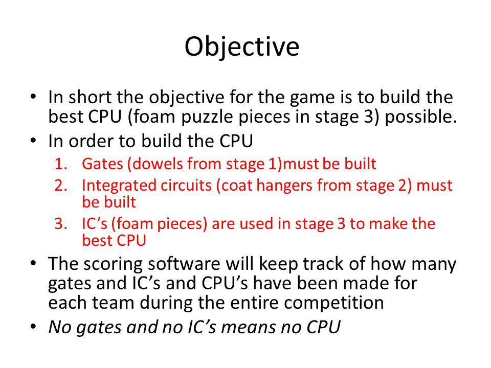 Objective In short the objective for the game is to build the best CPU (foam puzzle pieces in stage 3) possible.