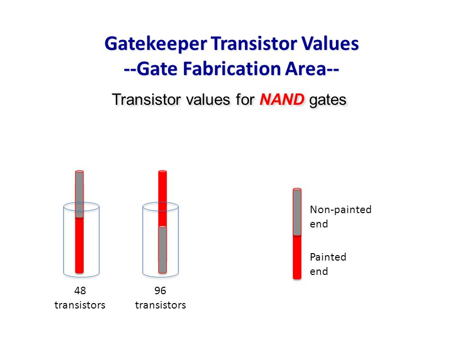Transistor values for NAND gates Non-painted end Painted end 48 transistors 96 transistors Gatekeeper Transistor Values --Gate Fabrication Area--