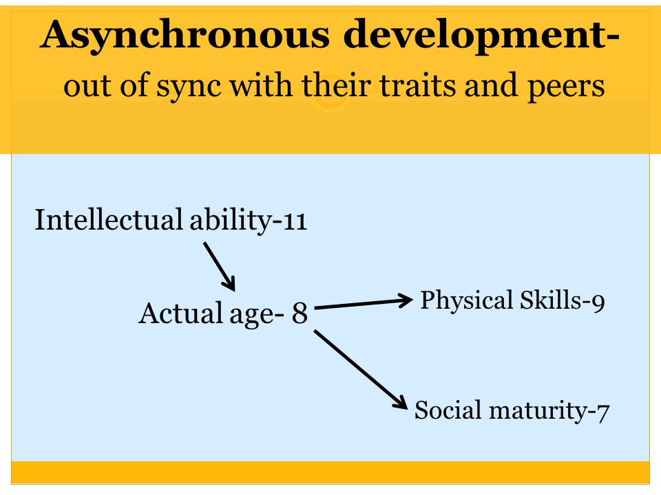 Asynchronous development- out of sync with their traits and peers Physical Skills-9 Intellectual ability-11 Social maturity-7 Actual age- 8