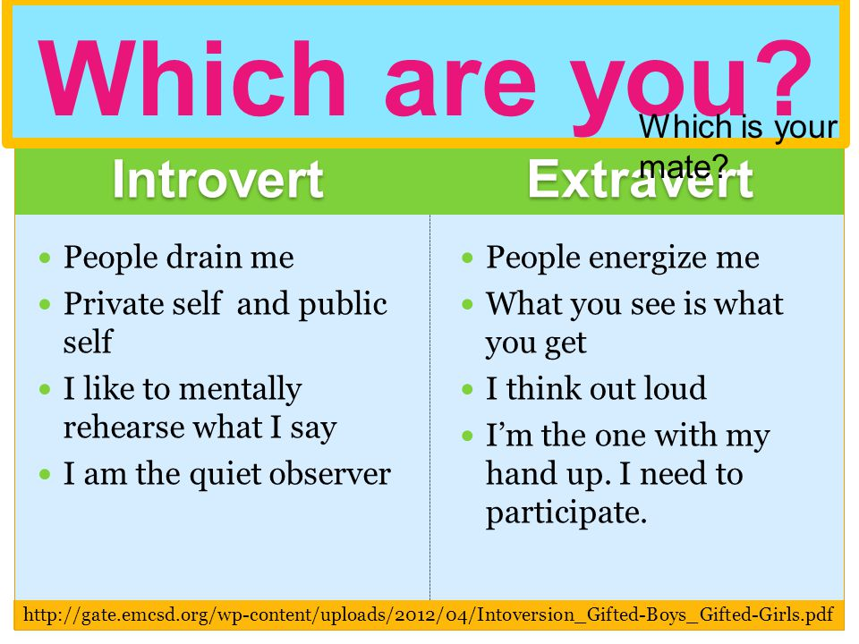 Introvert Extravert People drain me Private self and public self I like to mentally rehearse what I say I am the quiet observer People energize me What you see is what you get I think out loud Im the one with my hand up.