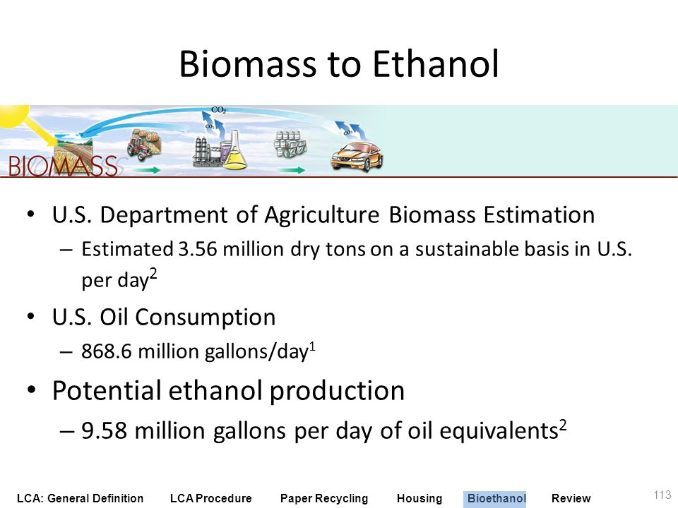 LCA: General Definition LCA Procedure Paper Recycling Housing Bioethanol Review Biomass to Ethanol U.S. Department of Agriculture Biomass Estimation –