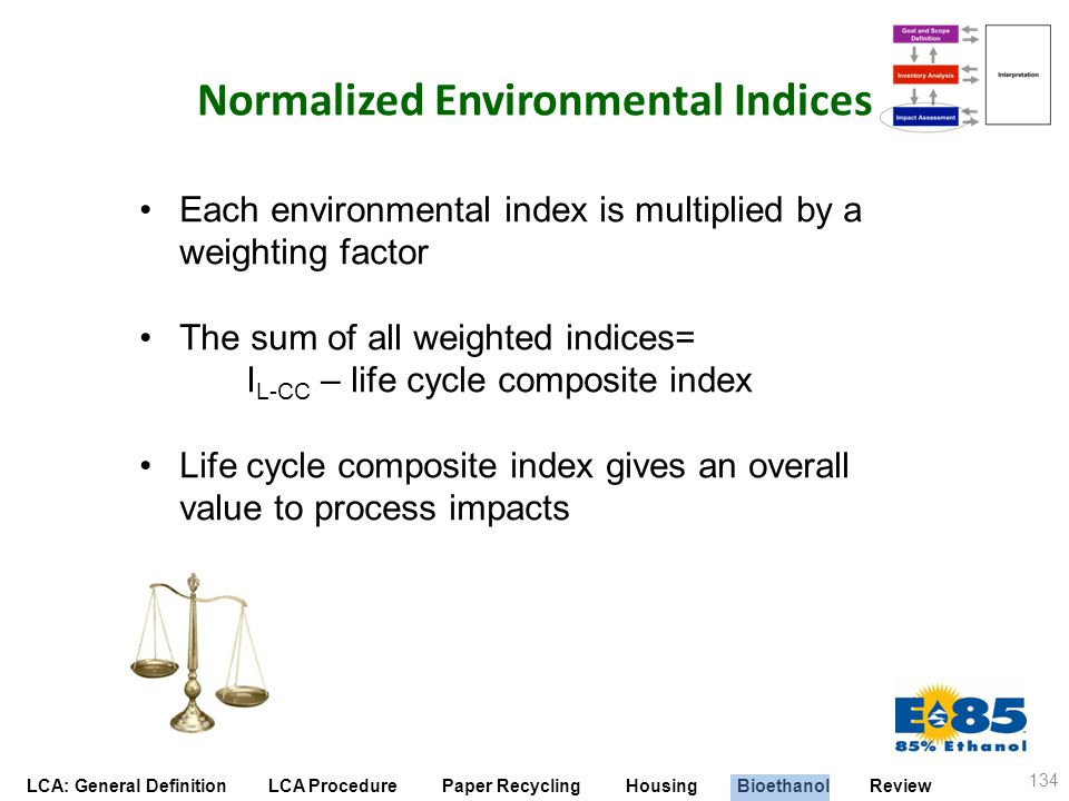 LCA: General Definition LCA Procedure Paper Recycling Housing Bioethanol Review Normalized Environmental Indices 134 Each environmental index is multi