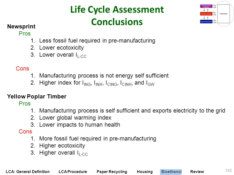 LCA: General Definition LCA Procedure Paper Recycling Housing Bioethanol Review Life Cycle Assessment Conclusions 142 Newsprint Pros 1.Less fossil fue