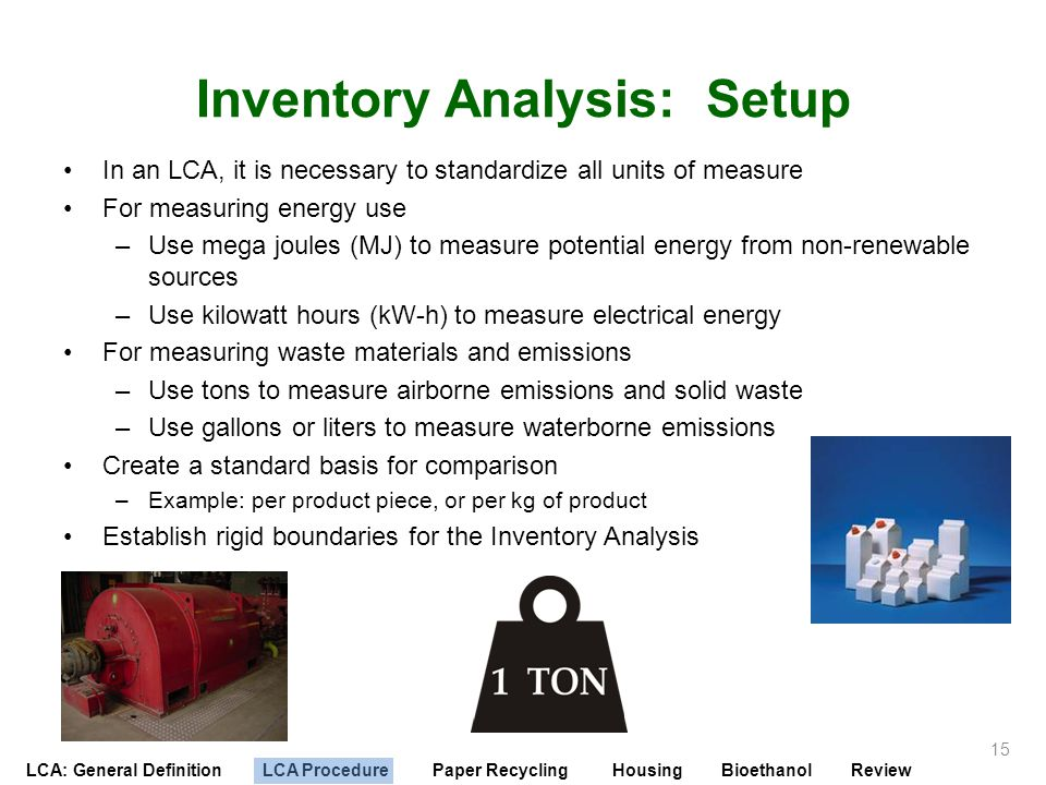 LCA: General Definition LCA Procedure Paper Recycling Housing Bioethanol Review Inventory Analysis: Setup In an LCA, it is necessary to standardize al