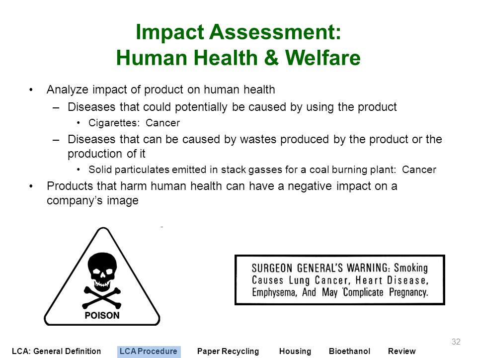 LCA: General Definition LCA Procedure Paper Recycling Housing Bioethanol Review Impact Assessment: Human Health & Welfare Analyze impact of product on
