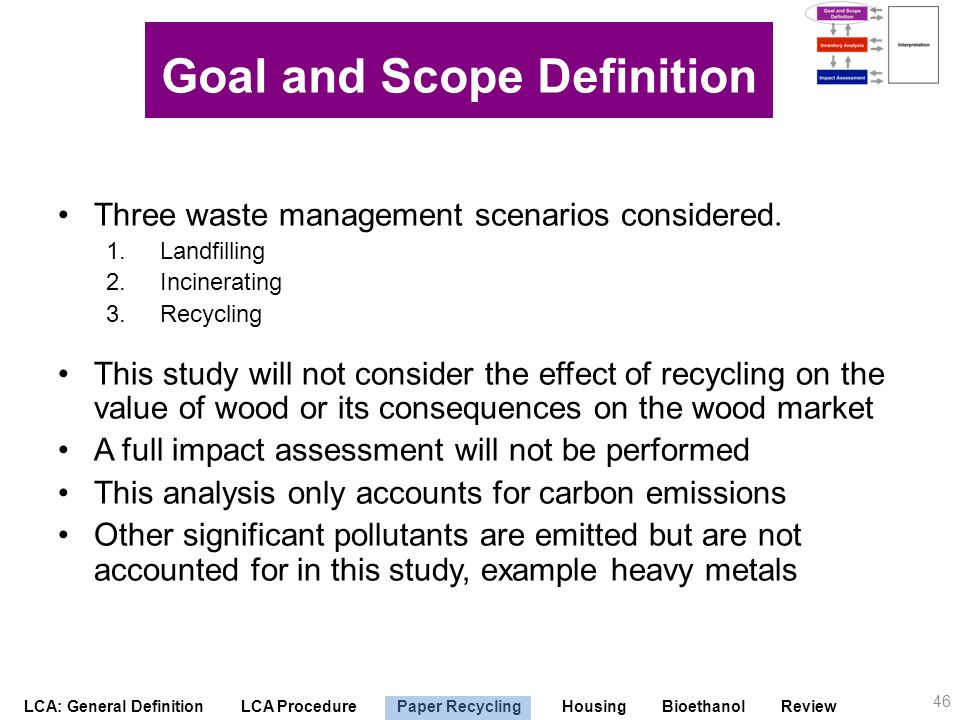 LCA: General Definition LCA Procedure Paper Recycling Housing Bioethanol Review Scope Three waste management scenarios considered. 1.Landfilling 2.Inc
