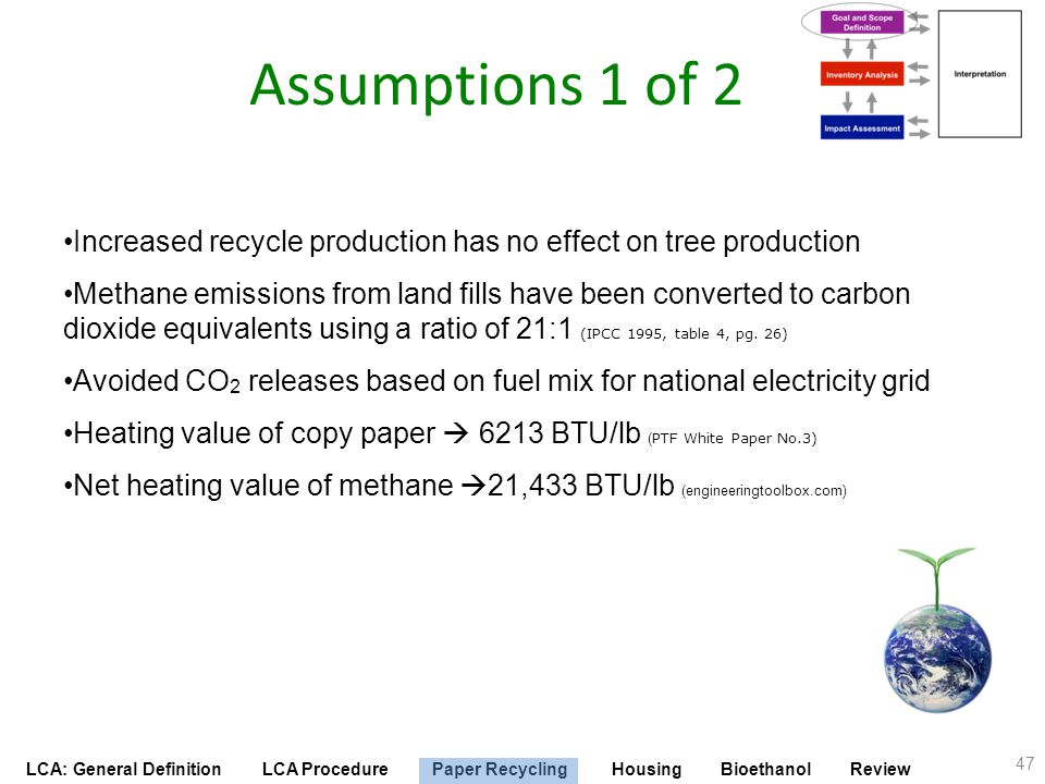 LCA: General Definition LCA Procedure Paper Recycling Housing Bioethanol Review Assumptions 1 of 2 Increased recycle production has no effect on tree