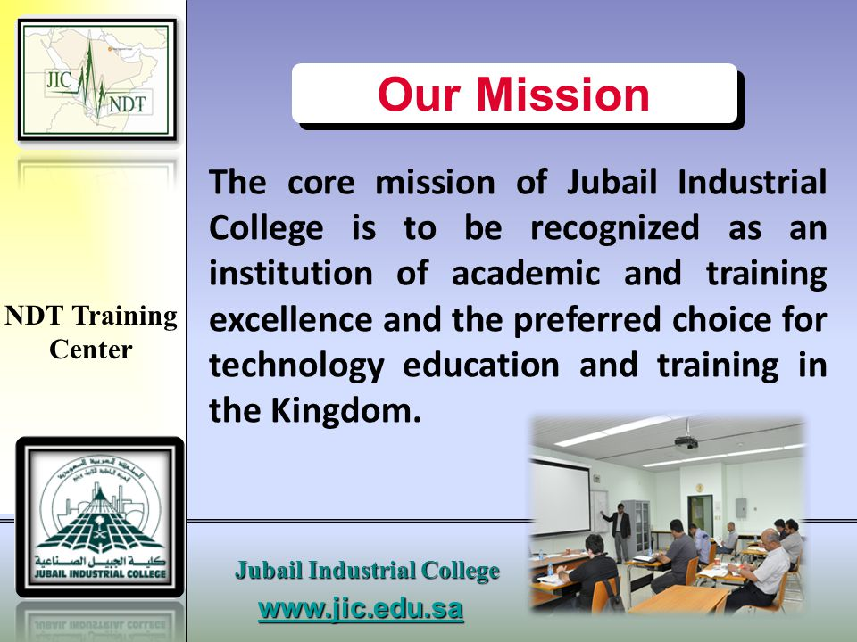 www.jic.edu.s a Jubail Industrial College NDT Training Center UT Lab. & Work Stations