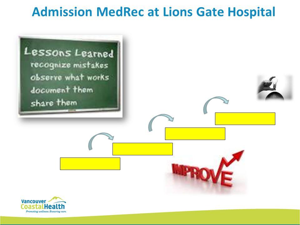 Admission MedRec at Lions Gate Hospital