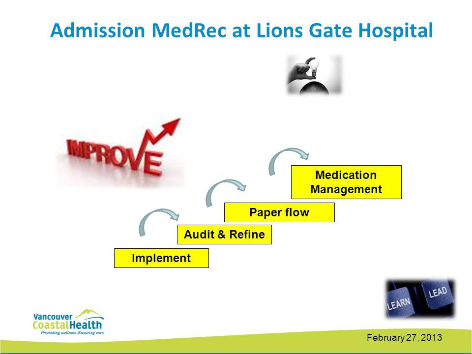 February 27, 2013 Audit & Refine Paper flow Implement Medication Management Admission MedRec at Lions Gate Hospital