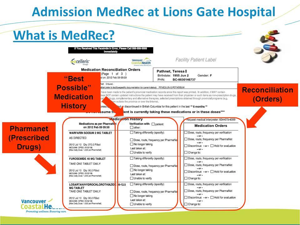 What is MedRec? Best Possible Medication History Reconciliation (Orders) Pharmanet (Prescribed Drugs) Admission MedRec at Lions Gate Hospital