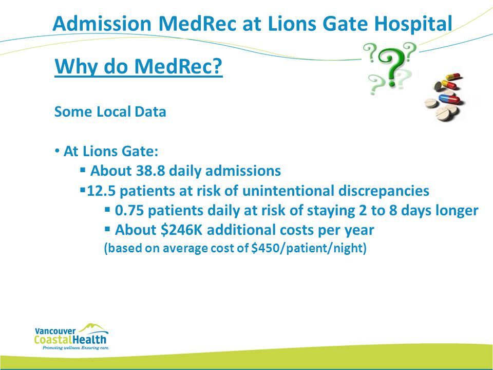 Why do MedRec? Some Local Data At Lions Gate: About 38.8 daily admissions 12.5 patients at risk of unintentional discrepancies 0.75 patients daily at