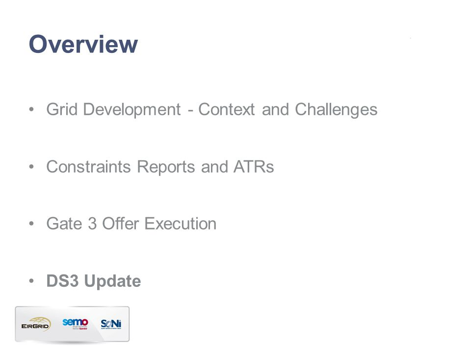 Overview Grid Development - Context and Challenges Constraints Reports and ATRs Gate 3 Offer Execution DS3 Update