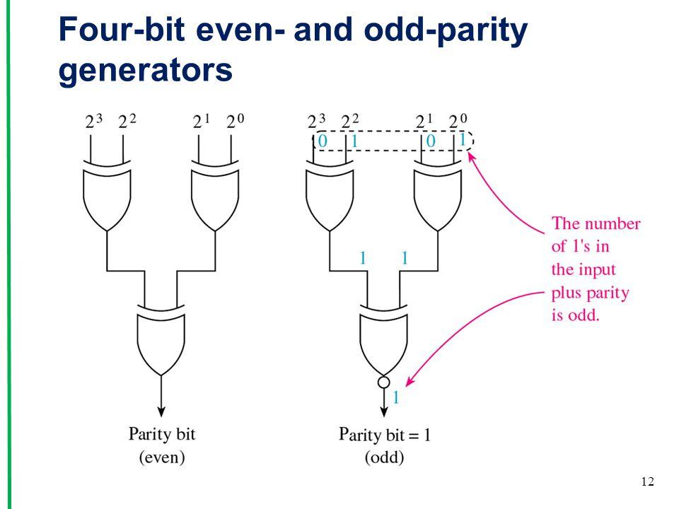Four-bit even- and odd-parity generators 12