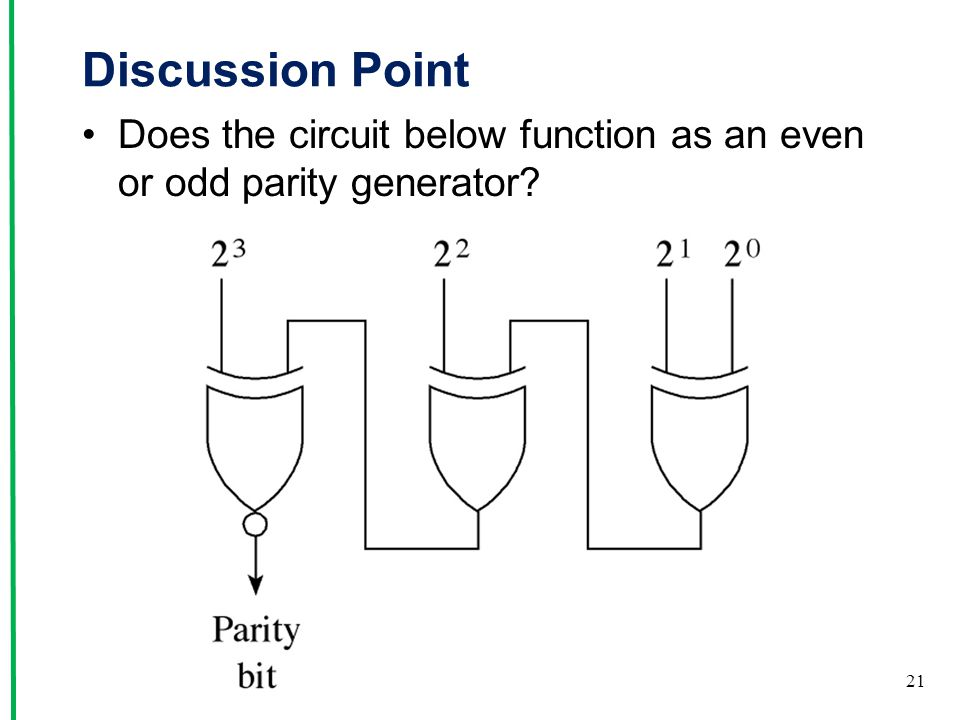 Discussion Point Does the circuit below function as an even or odd parity generator? 21