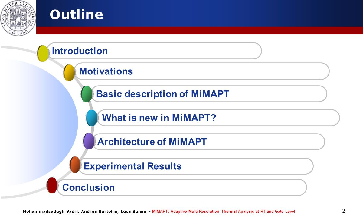 Mohammadsadegh Sadri, Andrea Bartolini, Luca Benini – MiMAPT: Adaptive Multi-Resolution Thermal Analysis at RT and Gate Level 13 Sample Ideas for Future Work Expanding the borders: a)To higher levels of design: Architecture - RTL - Gate.