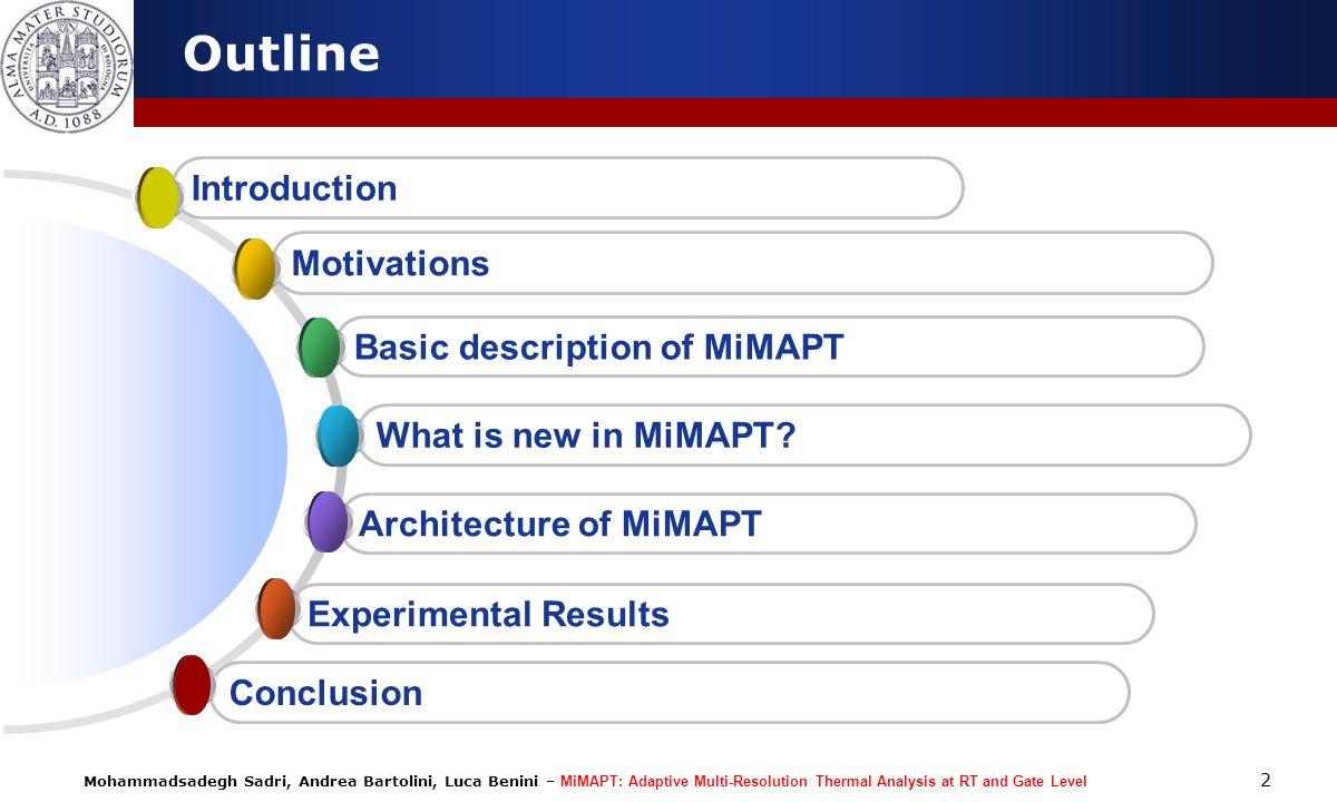 Mohammadsadegh Sadri, Andrea Bartolini, Luca Benini – MiMAPT: Adaptive Multi-Resolution Thermal Analysis at RT and Gate Level 2 Outline Experimental R