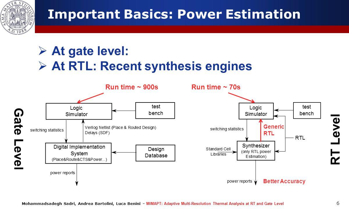 Mohammadsadegh Sadri, Andrea Bartolini, Luca Benini – MiMAPT: Adaptive Multi-Resolution Thermal Analysis at RT and Gate Level 6 Important Basics: Powe