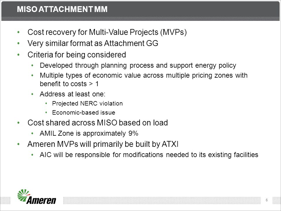 7 MISO ATTACHMENT O, GG & MM All transmission costs included in Attachment O calculation Schedule 9 based on net revenue requirement – reductions for: Costs recovered in Schedules 26 & 26-A Point-to-Point revenue in Schedules 7 & 8 Rental revenue Revenue from generator interconnections Questions on Tariffs?