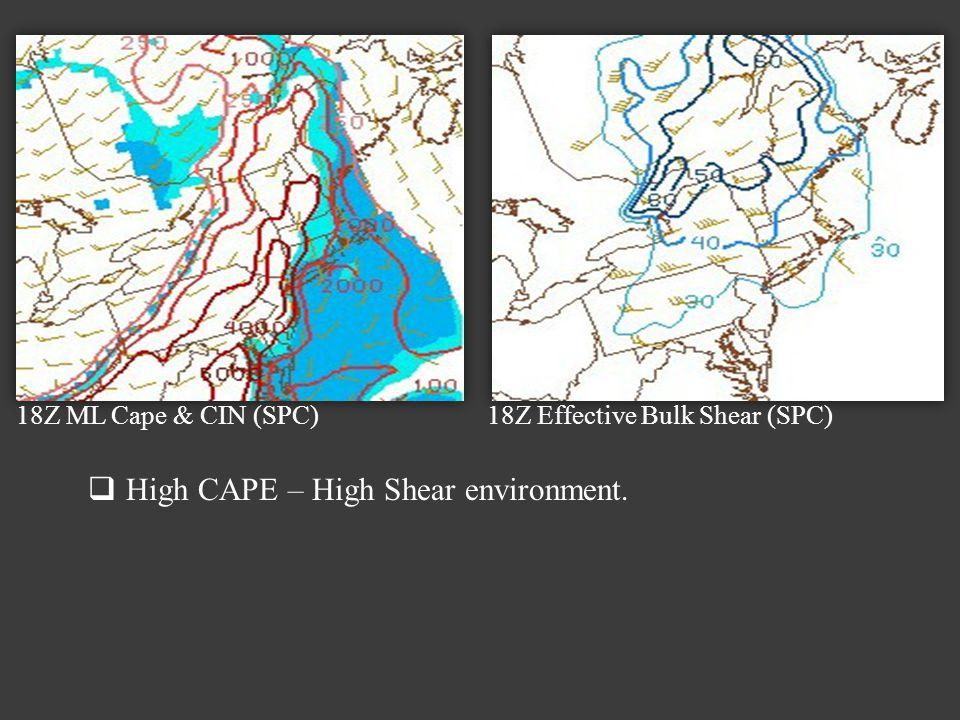 18Z ML Cape & CIN (SPC) 18Z Effective Bulk Shear (SPC) High CAPE – High Shear environment.