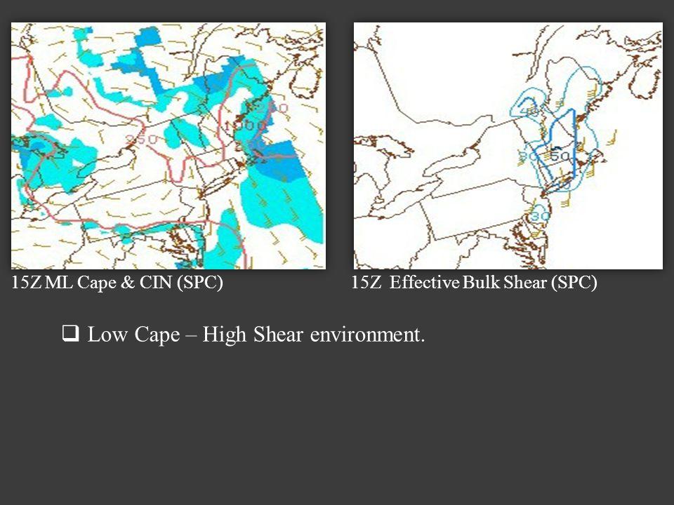 15Z ML Cape & CIN (SPC) 15Z Effective Bulk Shear (SPC) Low Cape – High Shear environment.