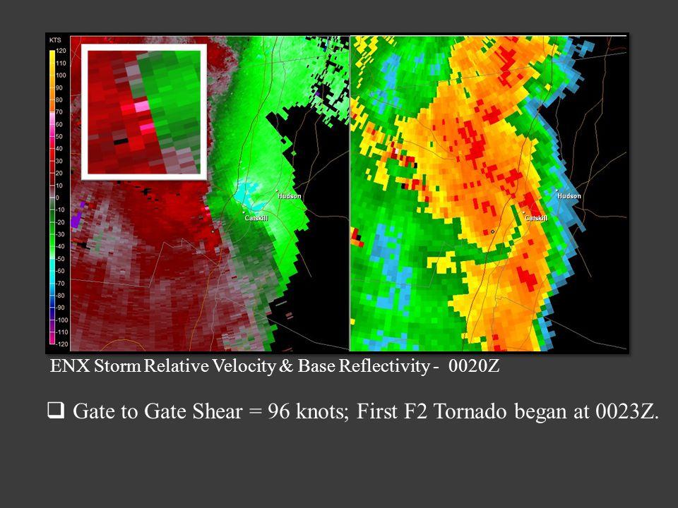 ENX Storm Relative Velocity & Base Reflectivity - 0020Z Gate to Gate Shear = 96 knots; First F2 Tornado began at 0023Z.