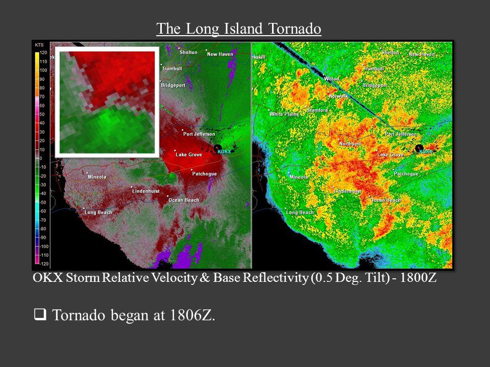 The Long Island Tornado OKX Storm Relative Velocity & Base Reflectivity (0.5 Deg.