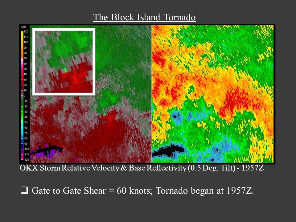 The Block Island Tornado OKX Storm Relative Velocity & Base Reflectivity (0.5 Deg.