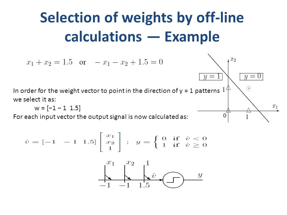 Selection of weights by off-line calculations Example In order for the weight vector to point in the direction of y = 1 patterns we select it as: w =