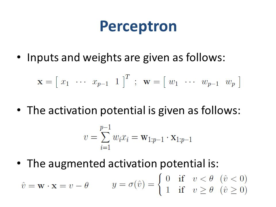 Perceptron Inputs and weights are given as follows: The activation potential is given as follows: The augmented activation potential is: