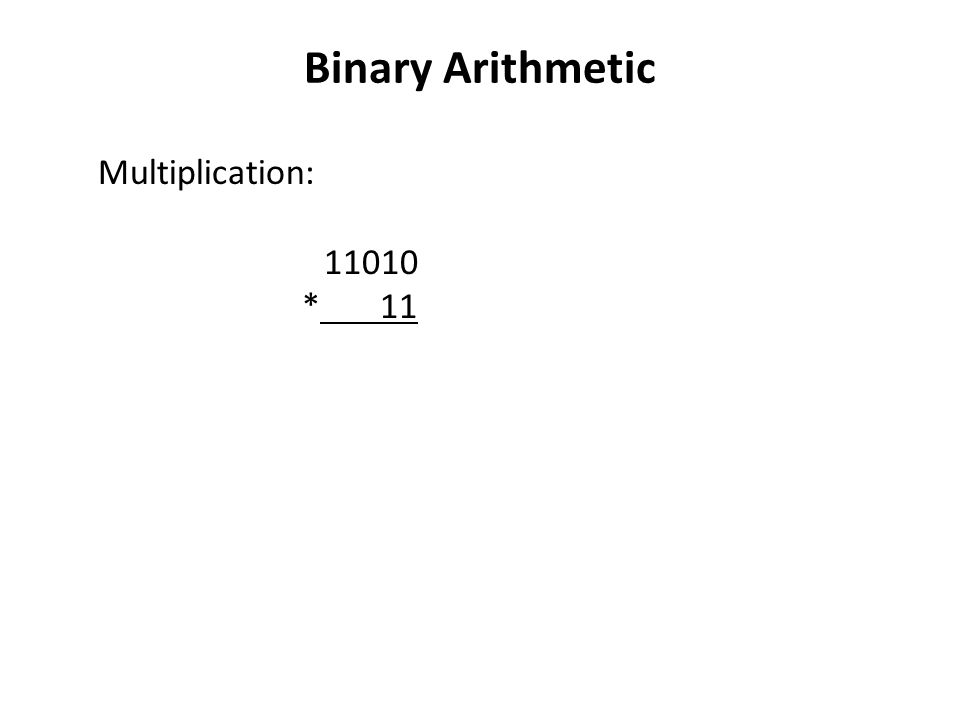Binary Arithmetic Multiplication: * 11