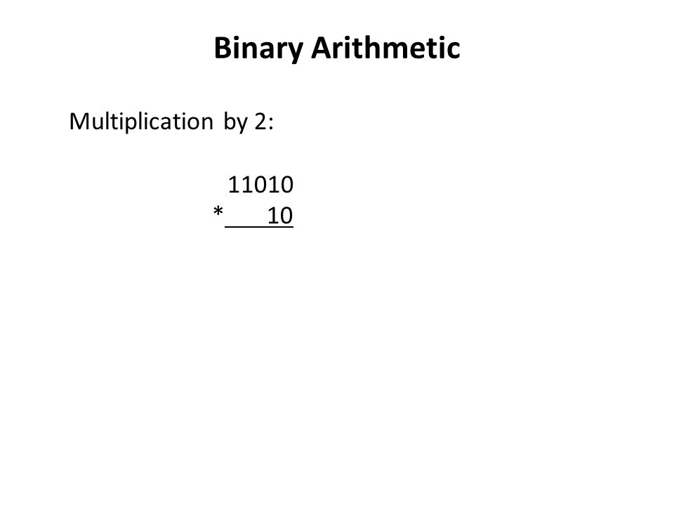 Binary Arithmetic Multiplication by 2: * 10