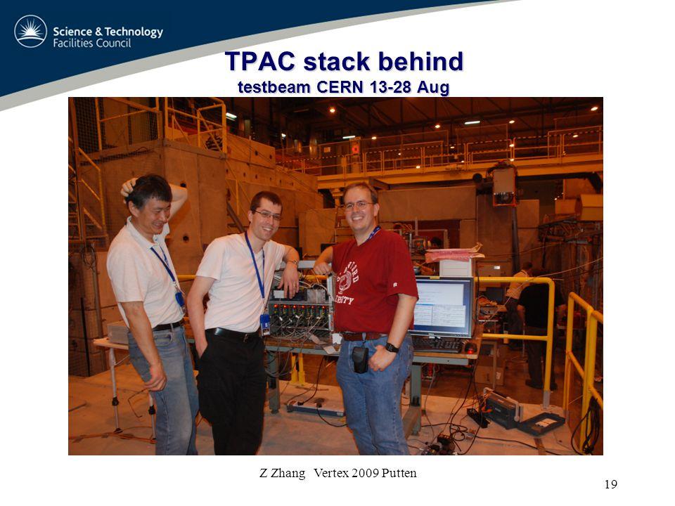 TPAC stack behind testbeam CERN 13-28 Aug 19 Z Zhang Vertex 2009 Putten