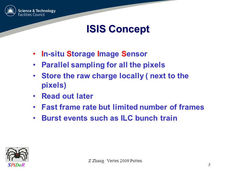 ISIS Concept In-situ Storage Image Sensor Parallel sampling for all the pixels Store the raw charge locally ( next to the pixels) Read out later Fast frame rate but limited number of frames Burst events such as ILC bunch train Z Zhang Vertex 2009 Putten 3