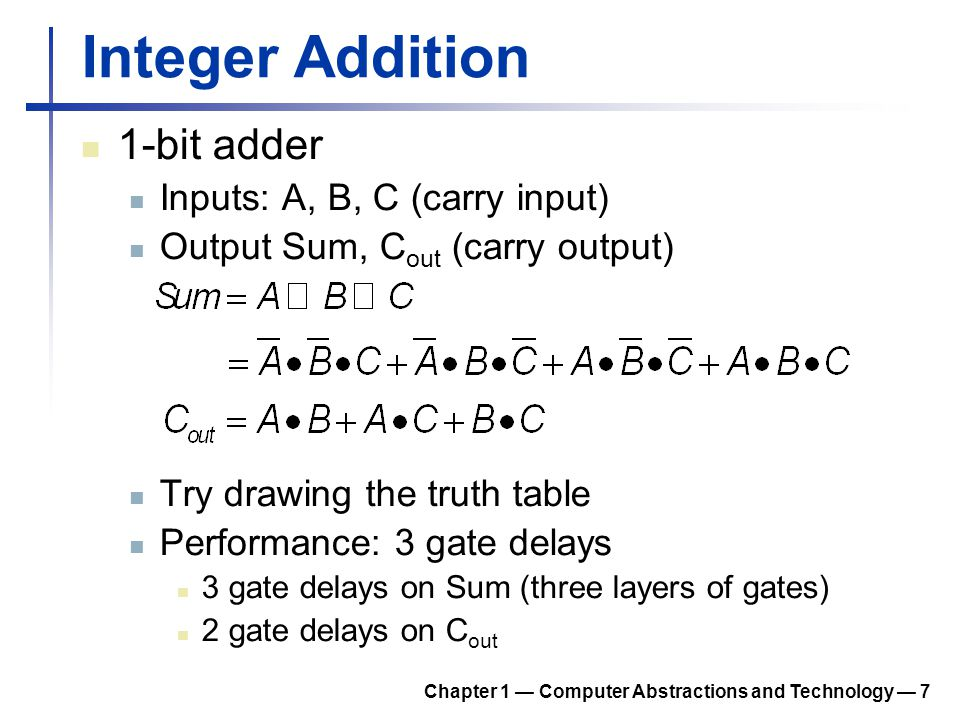 Integer Addition 1-bit adder Inputs: A, B, C (carry input) Output Sum, C out (carry output) Try drawing the truth table Performance: 3 gate delays 3 g