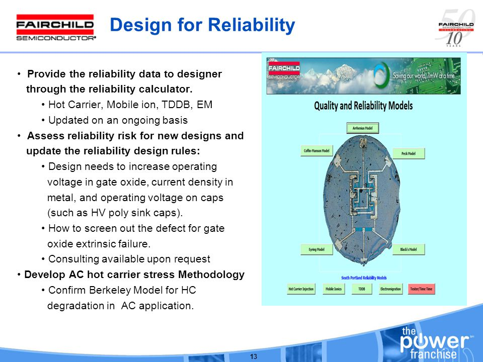 Design for Reliability Provide the reliability data to designer through the reliability calculator.