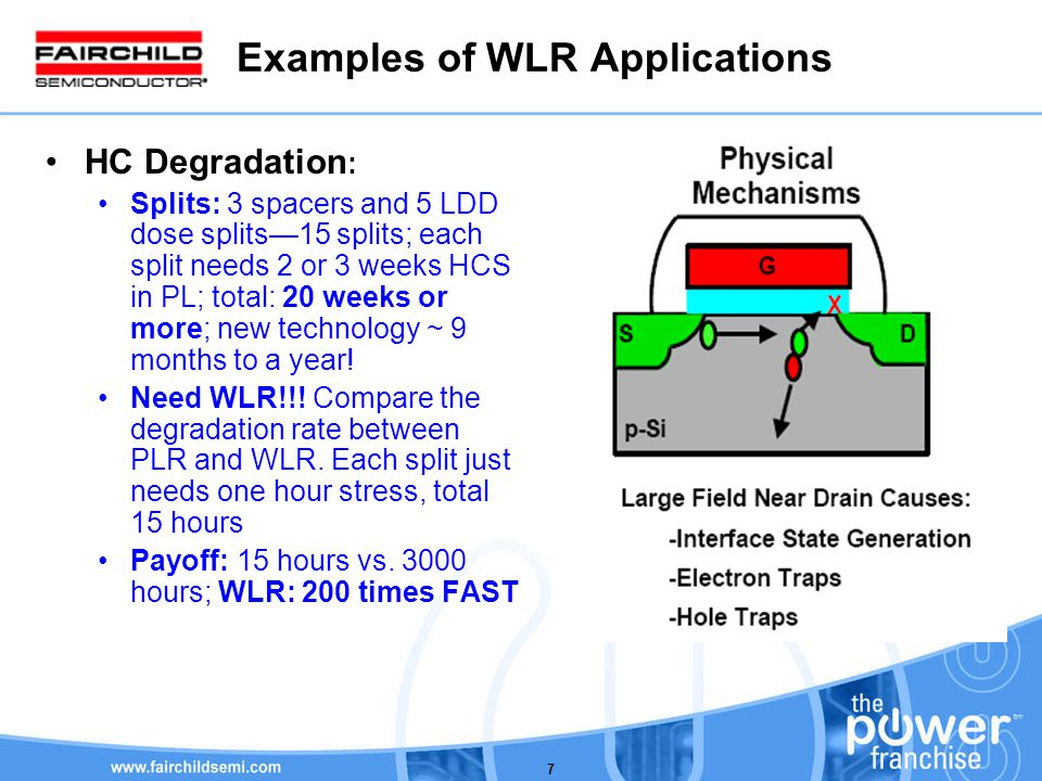 7 Examples of WLR Applications HC Degradation : Splits: 3 spacers and 5 LDD dose splits15 splits; each split needs 2 or 3 weeks HCS in PL; total: 20 weeks or more; new technology ~ 9 months to a year.