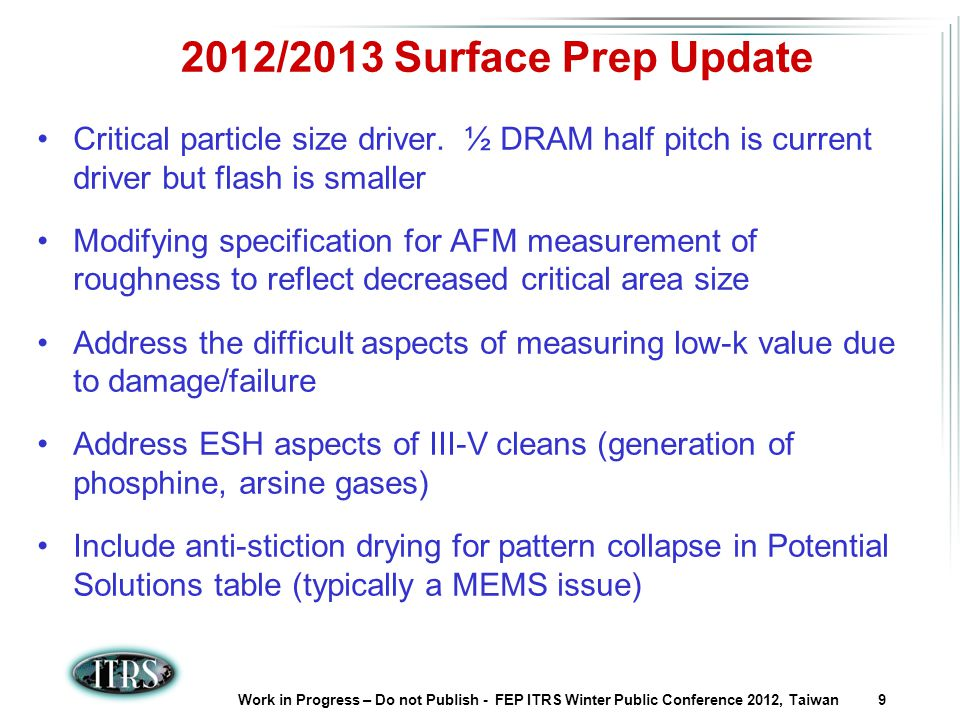 Work in Progress – Do not Publish - FEP ITRS Winter Public Conference 2012, Taiwan 9 2012/2013 Surface Prep Update Critical particle size driver.
