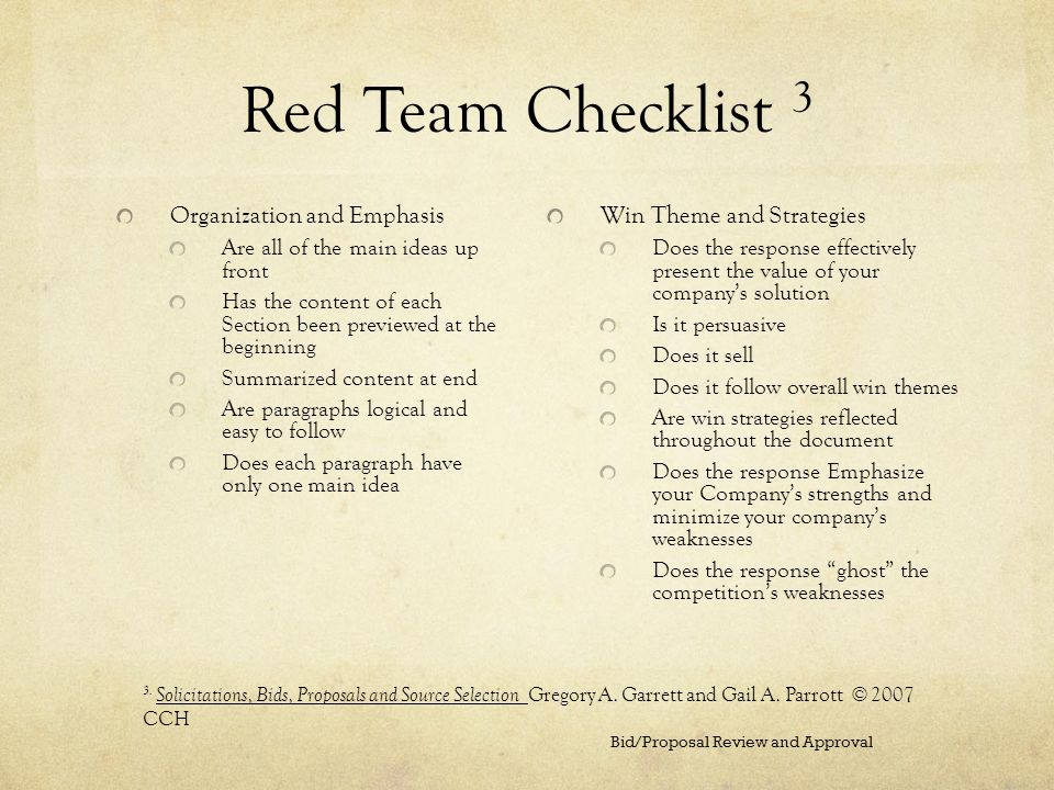 Red Team Checklist 3 Organization and Emphasis Are all of the main ideas up front Has the content of each Section been previewed at the beginning Summ