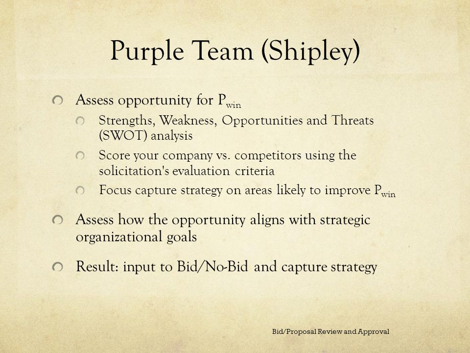Purple Team (Shipley) Assess opportunity for P win Strengths, Weakness, Opportunities and Threats (SWOT) analysis Score your company vs. competitors u