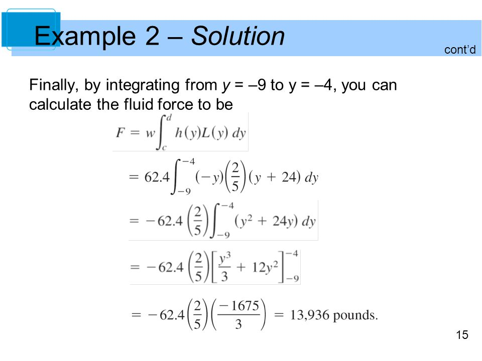 15 Example 2 – Solution Finally, by integrating from y = –9 to y = –4, you can calculate the fluid force to be contd