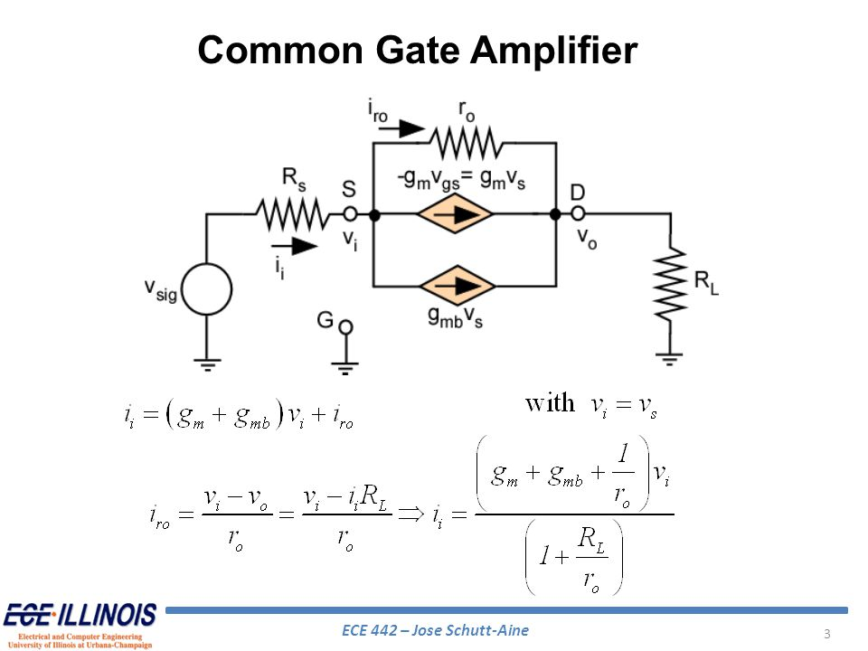 ECE 442 – Jose Schutt-Aine 44 If one pole is at a much lower frequency than the zeros and the other poles, (dominant pole) we can approximate 3dB For the same gain, a single stage amplifier would yield: Second stage in cascode increases bandwidth Cascode Amplifier – High Frequency