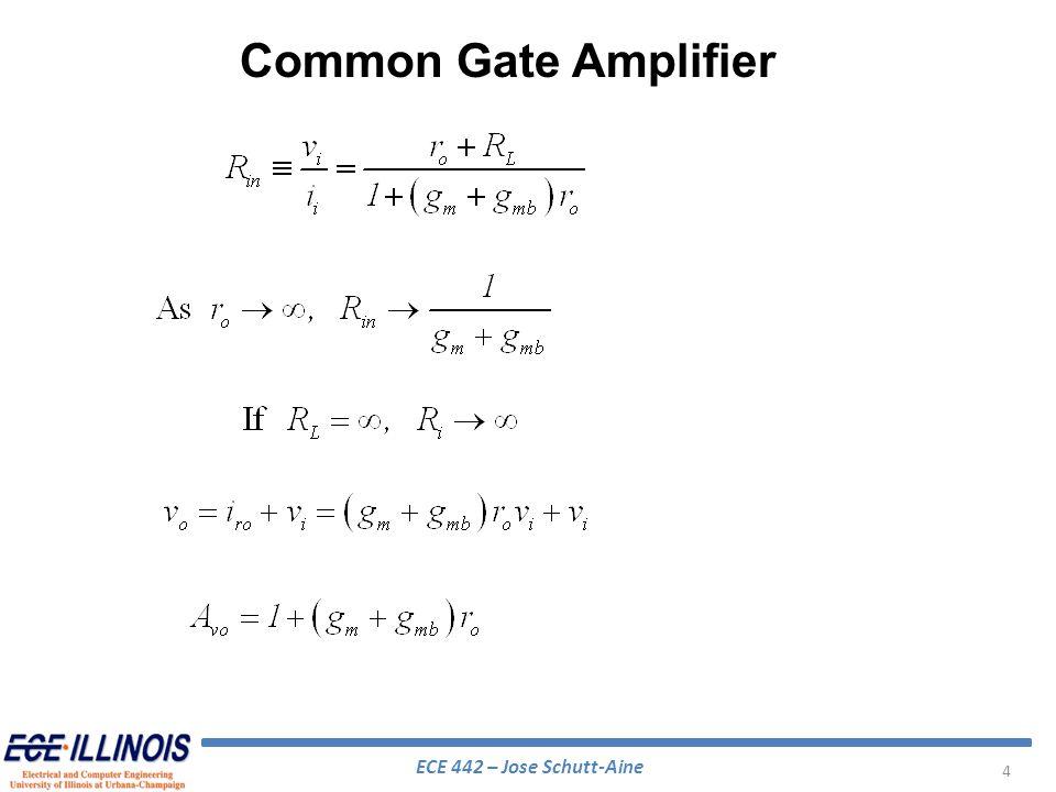 ECE 442 – Jose Schutt-Aine 35 Cascode Amplifier – High Frequency High-frequency incremental model