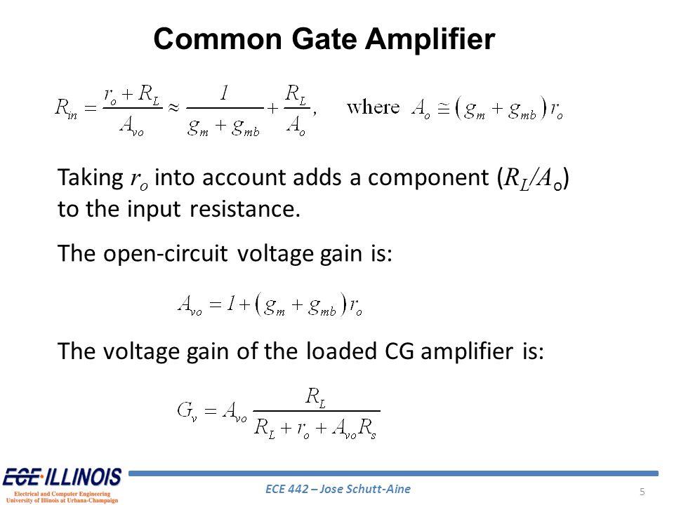 ECE 442 – Jose Schutt-Aine 36 Applying Kirchoffs current law to each node: Find solution using a computer Cascode Amplifier – High Frequency