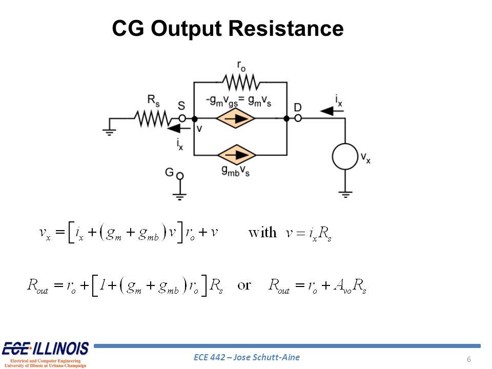 ECE 442 – Jose Schutt-Aine 37 g m =0.4 mhos =100 r =250 ohms r x =20 ohms C =100 pF C =5 pf G L =5 mmhos G S =4.5 mmhos s a =8.0 ns-1 s d =-0.0806 nsec-1 s b =-2.02 + j5.99 s e =-0.644 s c =-2.02 – j5.99 s f =-4.05 s g =-16.45 POLESZEROS As an example use: Cascode Amplifier – High Frequency