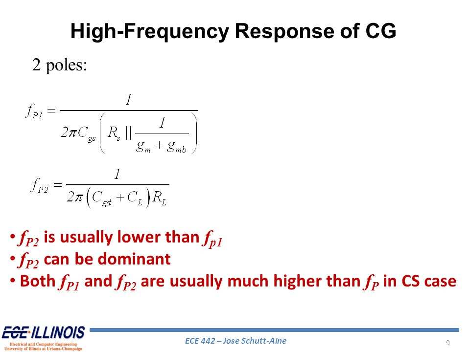 ECE 442 – Jose Schutt-Aine 30 BJT Cascode Analysis If R s << r x1 +r 1, the voltage gain can be approximated by