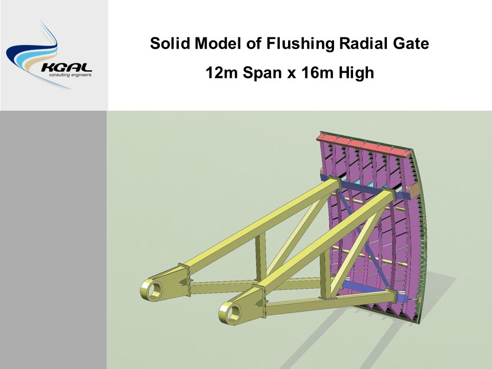 Solid Model of Flushing Radial Gate 12m Span x 16m High