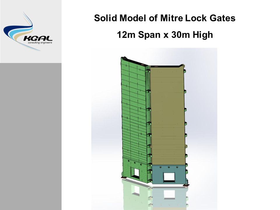 Solid Model of Mitre Lock Gates 12m Span x 30m High